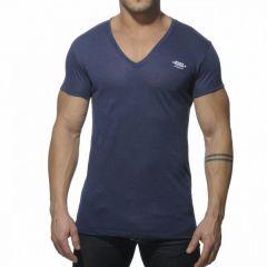 ES Linnen V Neck T-Shirt Navy OP=OP!