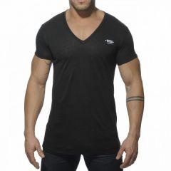 ES Linnen V Neck T-Shirt Zwart OP=OP!