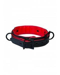 Kink Leren Halsband Zwart - Rood