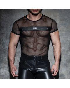 Addicted Fetish Mesh Mixed T-Shirt - Zwart