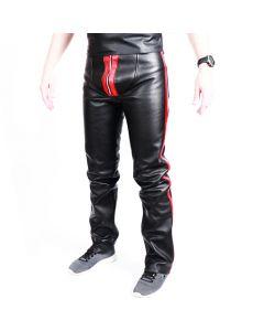 MisterMitch Leren Jeans met Rits - Zwart - Rood