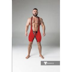 Maskulo Armored Fetish Wrestling Singlet Open Rear - Red