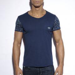 TS179 Sleeve Printed T-Shirt Navy OP=OP!