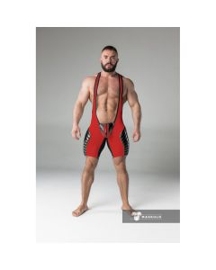 Maskulo Armored Men's Fetish Wrestling Singlet - Rood